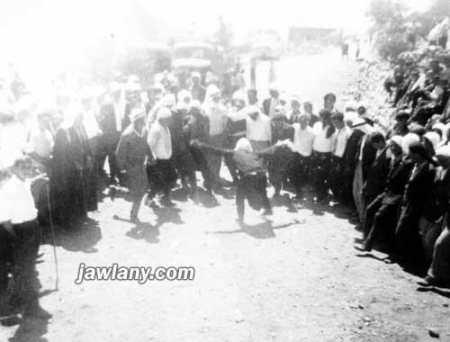 """التقطت في أحد الأعراس في مجدل شمس يعتقد أنها عام 1953 لأحد أفراد آل """"كنج"""""""